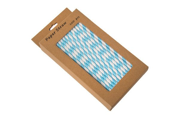 BLUE AND WHITE PAPER STRAW