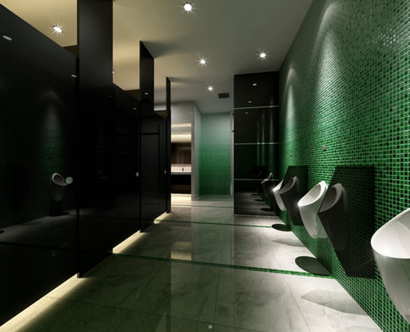 Bathroom with green walls