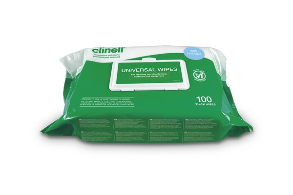 Clinell Universal Hand and Surface Wipes 100
